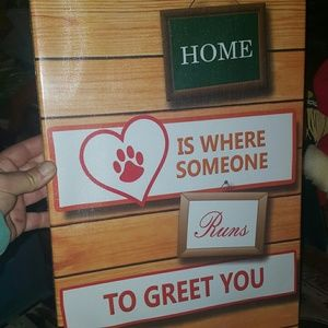FestaPrint Wall Art - Home is where... Paw Print Cat/Dog Wrapped Sign